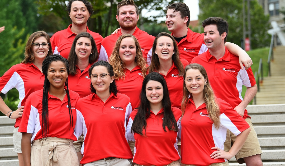 Orientation advisors smiling for a group photo